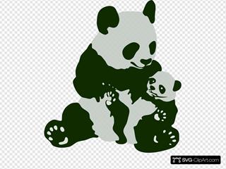 Panda Bear With Panda Baby