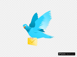 A Flying Pigeon Delivering A Message SVG Clipart