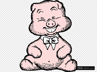 Pig With White Bowtie