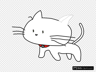 White Cartoon Cat SVG Clipart