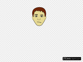 Brown Hair Boy Face SVG Clipart