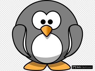 Grey Penguin SVG Clipart