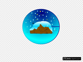 Sleeping Bear Under Stars With Snow | Circle Clipart