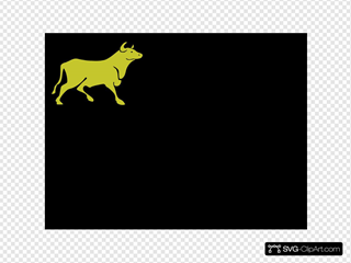 Yellow Bull Black Background SVG Clipart