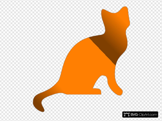 Gradient Yellow And Brown Cat SVG Clipart