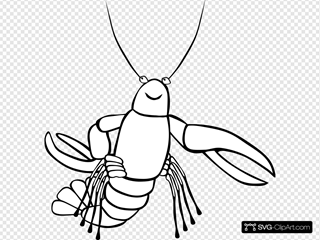 Crawfish (b And W) SVG Clipart
