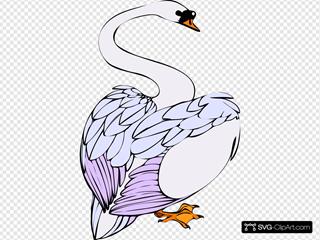 Swan Walking SVG Clipart