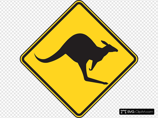 Kangaroo Warning Sign SVG Clipart