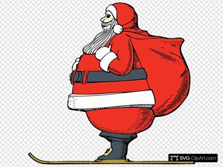 Skiing Santa SVG Clipart