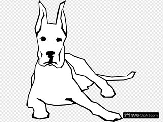 Simple Resting Dog Drawing SVG Clipart