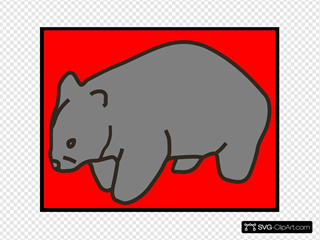 Grey Wombat On Red Background