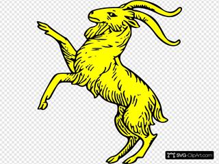 Gold Goat Symbol SVG Clipart
