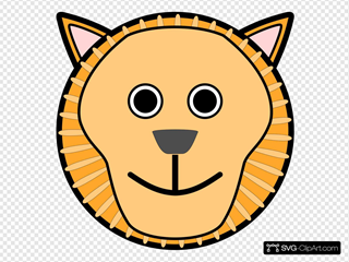 Lion Rounded Face SVG Clipart