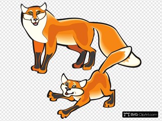 Parent And Child Foxes