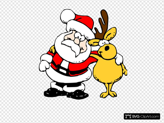 Santa And Reindeer SVG Clipart