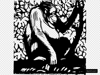 Orangutan Woodcut