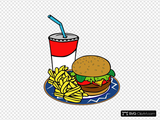 Fries Burger Soda Fast Food Clipart