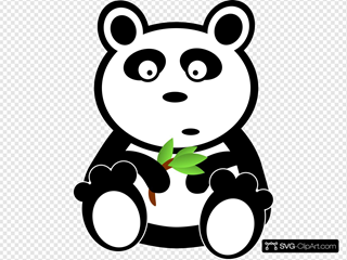 Cartoon Panda With Bamboo Leaves