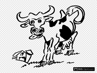 Cow And Barn