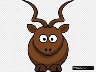 Simple Cartoon Kudu SVG Clipart