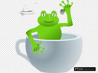 Frog In Tea Cup SVG Clipart