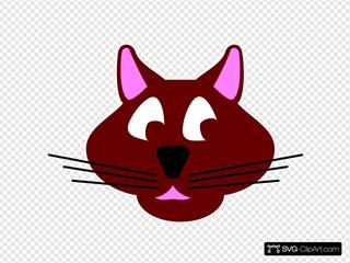 Brown Cartoon Cat Face