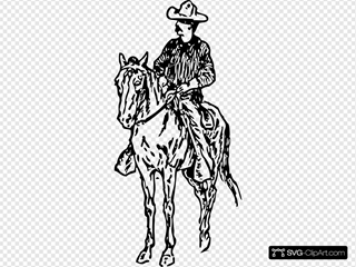Cowboy On Horse Clipart