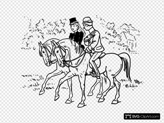 Couple Riding Horses SVG Clipart