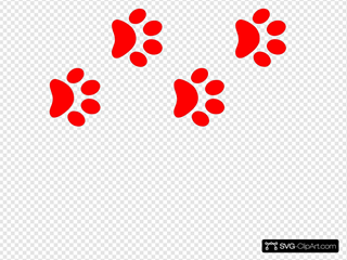 Red Paw Print Border