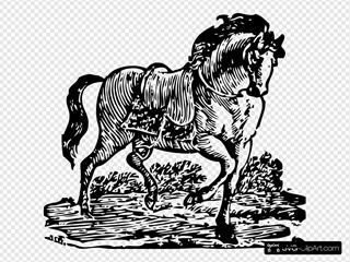 Woodcut Horse Art