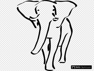 Walking Elephant Outline