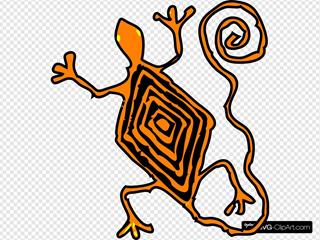 Orange Lizard Art