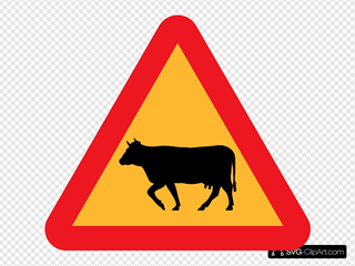 Warning Cows Roadsign SVG Clipart