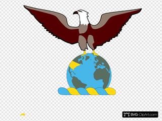 Eagle Over Globe Clipart