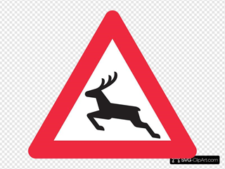 Deer Crossing Road Sign SVG Clipart