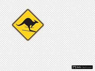 Skiing Kangaroo Warning Sign SVG Clipart