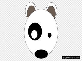 Round Cartoon Dog Head SVG Clipart