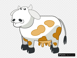 White Colored Cow With Brown Spots