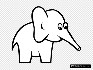 Cartoon Outline Elephant
