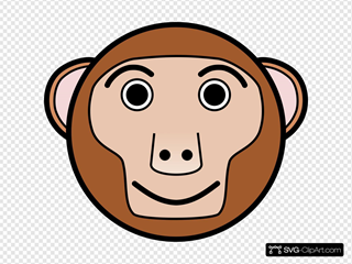 Monkey Rounded Face SVG Clipart