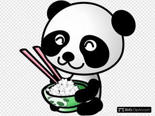 Panda Eating Rice Clipart