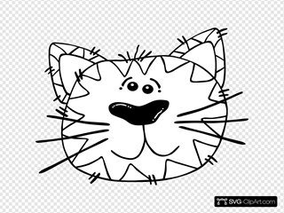 Cartoon Cat Face Outline