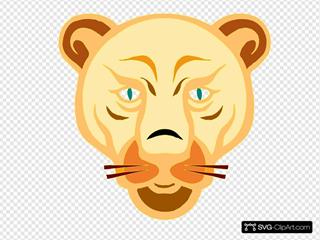 Lion Face Cartoon SVG Clipart