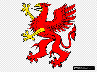 Red Griffin SVG Clipart
