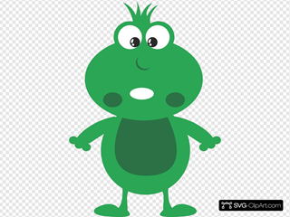 Green Frog Cartoon SVG Clipart