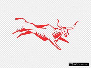 Red Jumping Bull Art