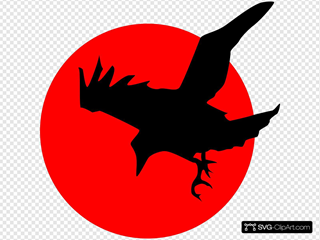Raven On Red SVG Clipart