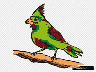 Green And Red Perched Bird