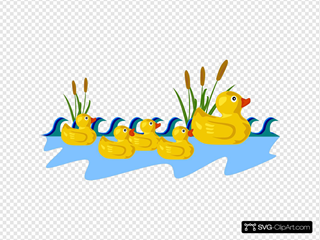 Rubber Duck Family Swimming Clipart