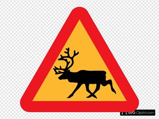 Warning Reindeer Roadsign